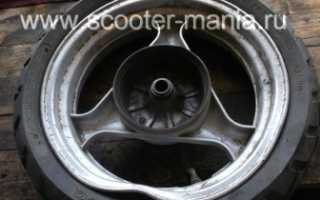Прокатка колесных дисков скутера на шиномонтаже